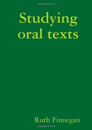 9781291433722: Studying oral texts