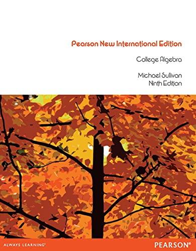 9781292039442: College Algebra: Pearson New International Edition
