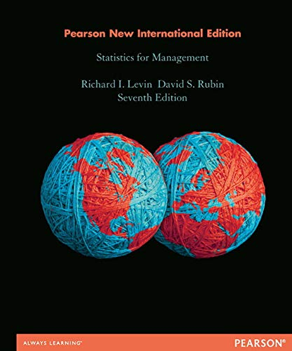 9781292039930: Statistics for Management: Pearson New International Edition