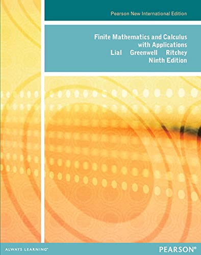 9781292040257: Finite Mathematics and Calculus with Applications: Pearson New International Edition