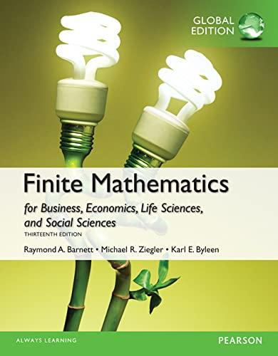 9781292062297: Finite Mathematics for Business, Economics, Life Sciences and Social Sciences, Global Edition