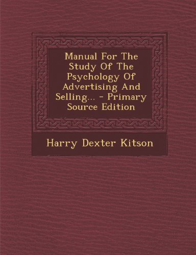 9781293105658: Manual For The Study Of The Psychology Of Advertising And Selling...