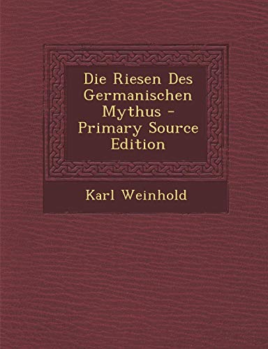 9781293284674: Die Riesen Des Germanischen Mythus