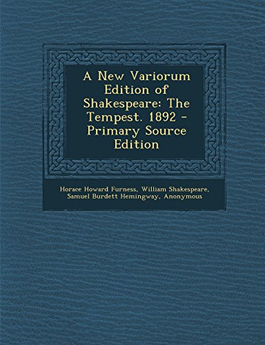 9781293807996: A New Variorum Edition of Shakespeare: The Tempest. 1892 - Primary Source Edition