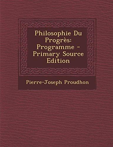 9781294326274: Philosophie Du Progres: Programme