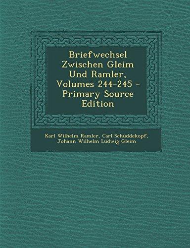 9781294433231: Briefwechsel Zwischen Gleim Und Ramler, Volumes 244-245