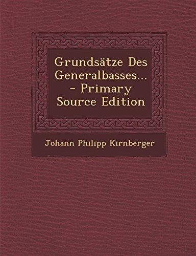 9781294727644: Grundsätze Des Generalbasses.