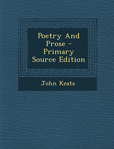 9781294842132: Poetry and Prose - Primary Source Edition