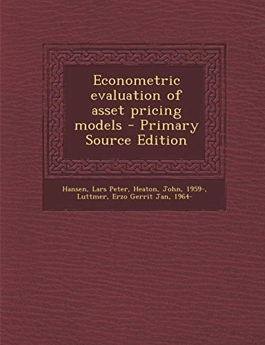 9781295658862: Econometric evaluation of asset pricing models