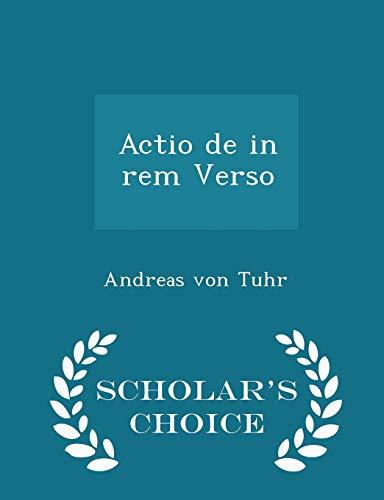 9781296080617: Actio de in rem Verso - Scholar's Choice Edition