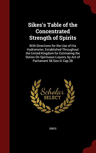 Sikes's Table of the Concentrated Strength of: Sikes
