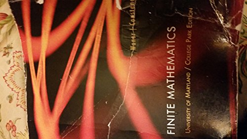 9781305009103: Finite Mathematics- University of Maryland College Park Edition By Waner and Constenoble