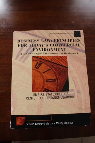 9781305015982: Business Law for Today's Commercial Env. (Custom Package,text and Video Library) Twomey Copyright 14 Publisher Cengageedition