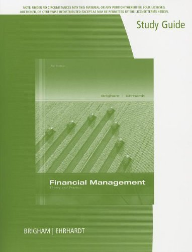9781305024199: Study Guide for Brigham/Ehrhardt's Financial Management: Theory & Practice, 14th by Brigham, Eugene F. Published by Cengage Learning 14th (fourteenth) edition (2013) Paperback