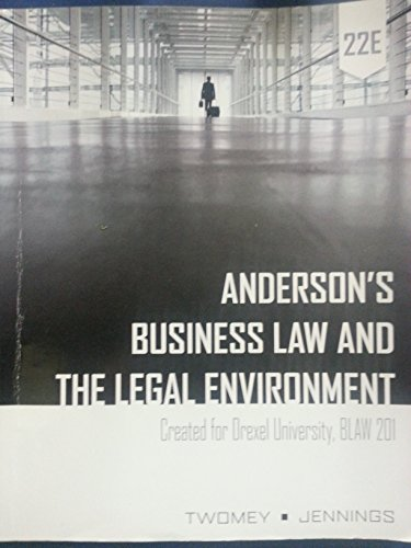 9781305033177: Anderson's Business Law and the Legal Environment 22E - Drexel BLAW 201