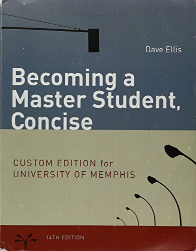 9781305038363: Becoming a Master Student, Concise Custom Edition University of Memphis