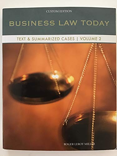 9781305041509: Business Law Today Text&Summarized Cases Volume 2