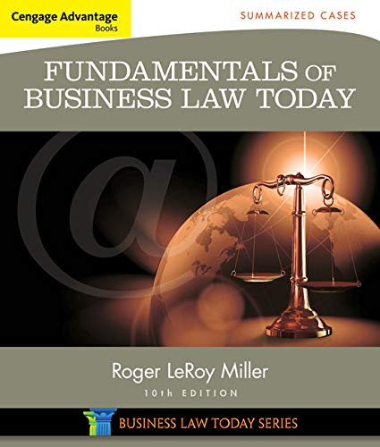 9781305075443: Cengage Advantage Books: Fundamentals of Business Law Today: Summarized Cases (Miller Business Law Today Family)