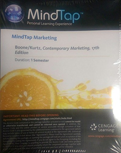 9781305077324: MindTap Marketing, 1 term (6 months) Printed Access Card for Boone/Kurtz's Contemporary Marketing, 17th (MindTap Course List)