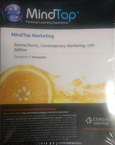 MindTap Access Card Marketing for Boone/Kurtz's Contemporary Marketing 17th E (1 Semester...