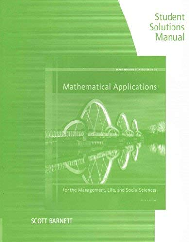 9781305108066: Student Solutions Manual for Harshbarger/Reynolds' Mathematical Applications for the Management, Life, and Social Sciences, 11th