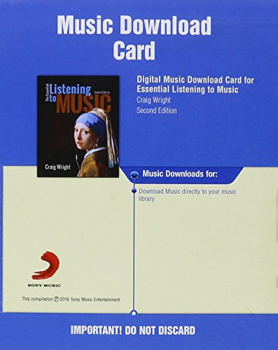 9781305114029: Digital Music Downloads Printed Access Card for Wright's The Essential Listening to Music, 2nd