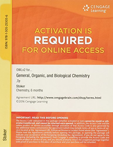 9781305253056: OWLv2 with MindTap Reader, 1 term (6 months) Printed Access Card for Stoker's General, Organic, and Biological Chemistry, 7th