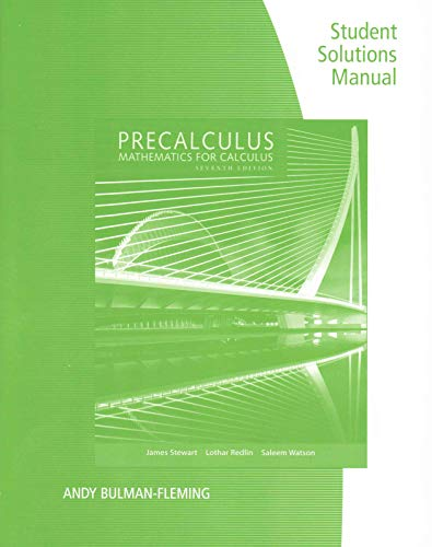 9781305253612: Student Solutions Manual for Stewart/Redlin/Watson S Precalculus: Mathematics for Calculus, 7th