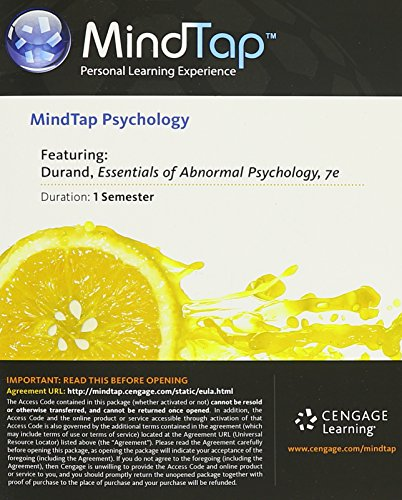 9781305261310: MindTap Psychology, 1 term (6 months) Printed Access Card for Durand/Barlow's Essentials of Abnormal Psychology, 7th (MindTap Course List)