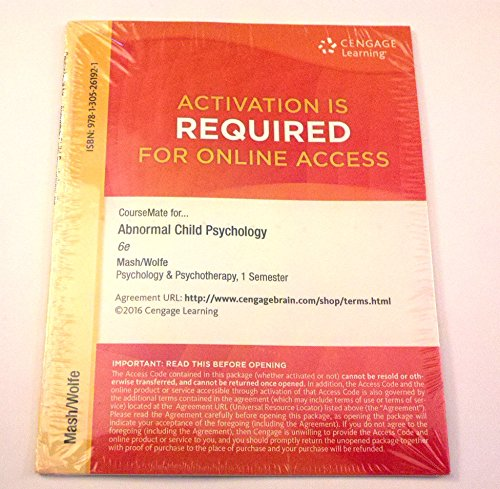 9781305261921: CourseMate, 1 term (6 months) Printed Access Card for Mash/Wolfe's Abnormal Child Psychology, 6th