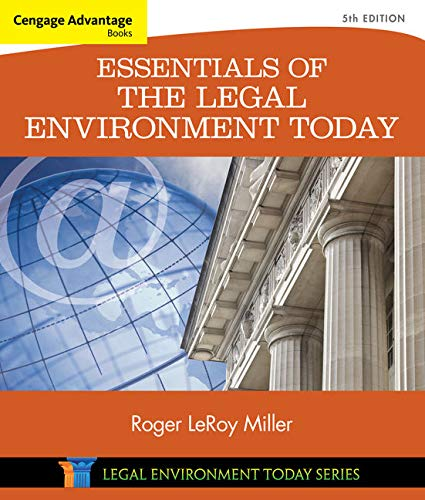 9781305262676: Cengage Advantage Books: Essentials of the Legal Environment Today (Miller Business Law Today Family)