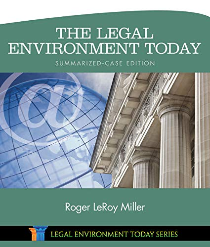 9781305262768: The Legal Environment Today - Summarized Case Edition (Miller Business Law Today Family)