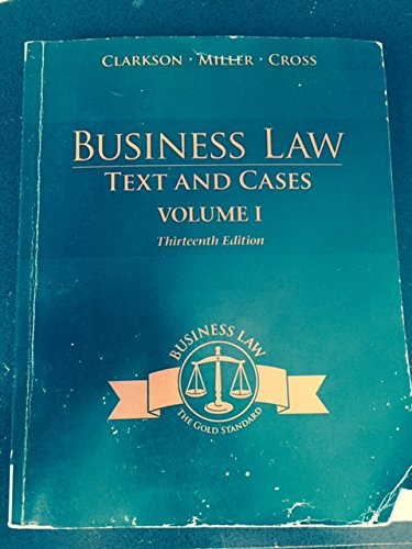9781305301894: BUSINESS LAW:TEXT+CASES,VOL.I >CUSTOM<
