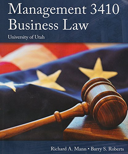 9781305313071: Management 3410 Business Law (University of Utah Edition)
