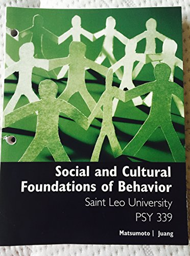 9781305316058: Social and Cultural Foundations of Behavior