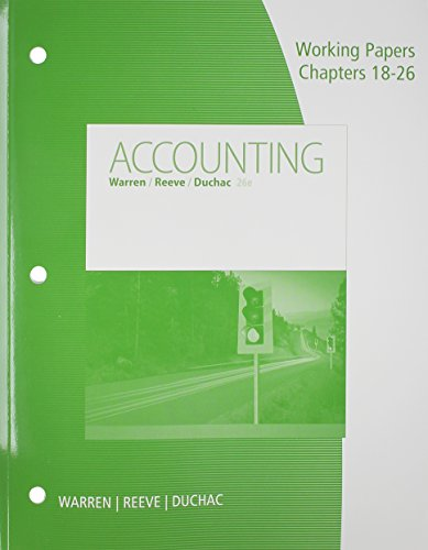9781305392380: Working Papers, Chapters 18-26 for Warren/Reeve/Duchac's Accounting, 26th