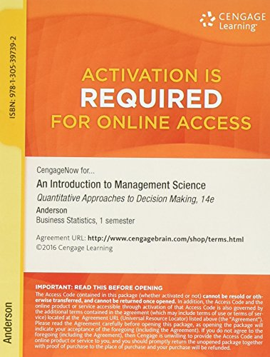 CengageNOW, 1 term (6 months) Printed Access: Anderson, David R.,