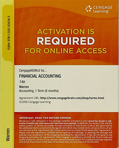 CengageNOW for Financial Accounting: Warren
