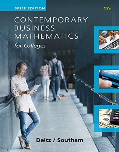 9781305506701: Contemporary Business Mathematics for Colleges, Brief Course