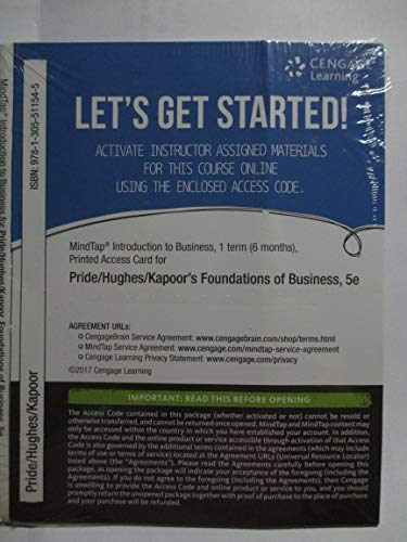 MindTap� Introduction to Business, 1 term (6 months) Printed Access Card for ...