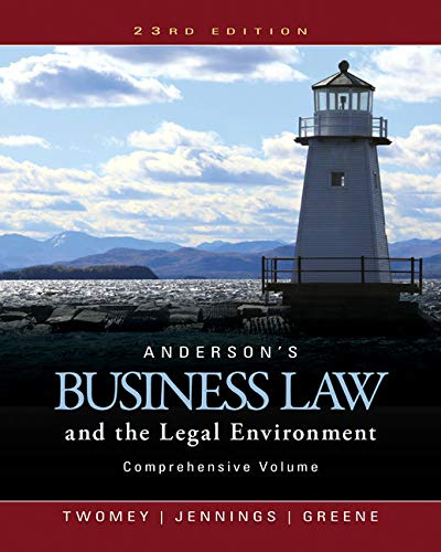 9781305575080: Anderson's Business Law and the Legal Environment, Comprehensive Volume