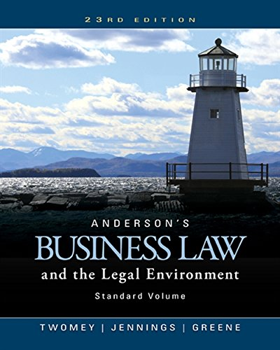 9781305575110: Anderson's Business Law and the Legal Environment, Standard Volume