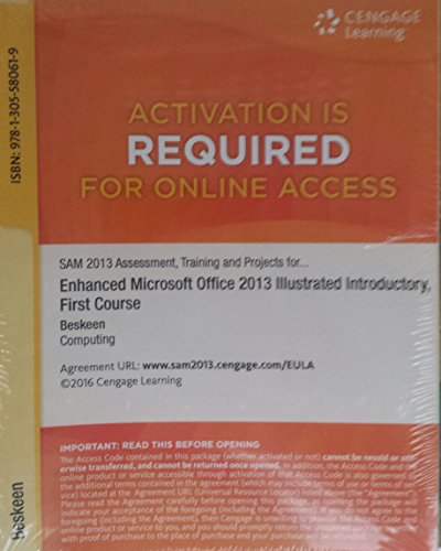 9781305580619: SAM 2013 Assessment, Training and Projects with MindTap Reader Printed Access Card for Enhanced Microsoft Office 2013: Illustrated Introductory, First Course