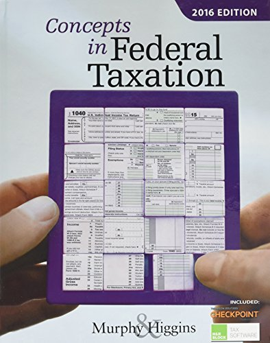 9781305585133: Concepts in Federal Taxation 2016 (with H&R Block™ Tax Preparation Software CD-ROM and RIA Checkpoint Printed Access Card)