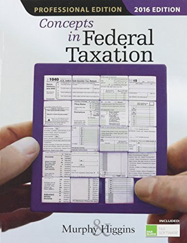 9781305585171: Concepts in Federal Taxation 2016, Professional Edition (with H&R Block™ Tax Preparation Software CD-ROM)
