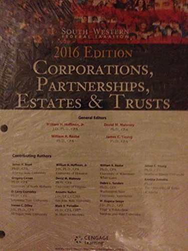 9781305617186: Bundle: South-Western Federal Taxation 2016: Corporations, Partnerships, Estates and Trusts, Loose-Leaf Version, (with H&R Block CD-ROM, RIA ... 1 term (6 months) Printed Access Card