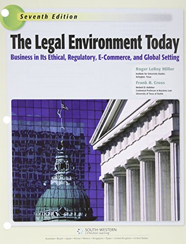 9781305633605: The Legal Environment Today (Miller Business Law Today Family)