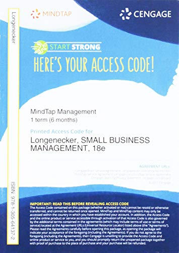 MindTap� Management, 1 term (6 months) Printed Access Card for Longenecker&#...