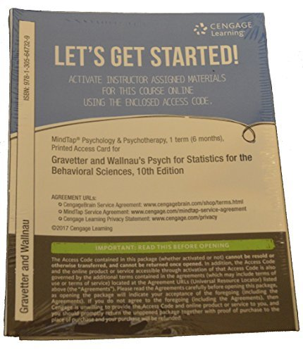 9781305647312: MindTap® Psychology, 1 term (6 months) Printed Access Code for Gravetter/Wallnau's Statistics for The Behavioral Sciences, 10th Edition