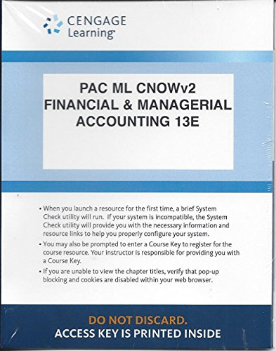 9781305662346: CengageNow 2 Semester Printed Access Card for Warren, Reeve & Duchac Financial & Managerial Accounting, 13e